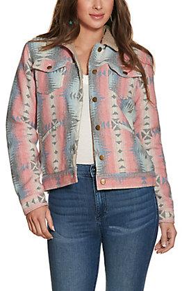 Cowgirl Legend Women's Coral Aztec Print Jacket