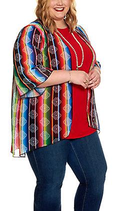 Lucky & Blessed Women's Serape Stripe Aztec Print Kimono Top - Plus Size