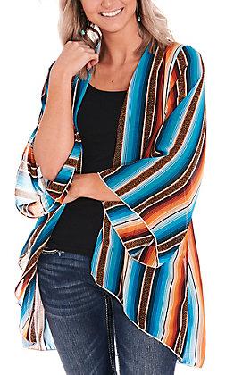 L&B Women's Leopard Serape Long Bell Sleeve Kimono