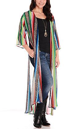 L&B Women's Snake Serape 3/4 Sleeve Duster Kimono