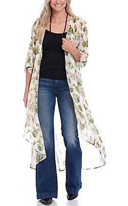 L&B Women's Cactus Print Long Sleeve Duster Kimono