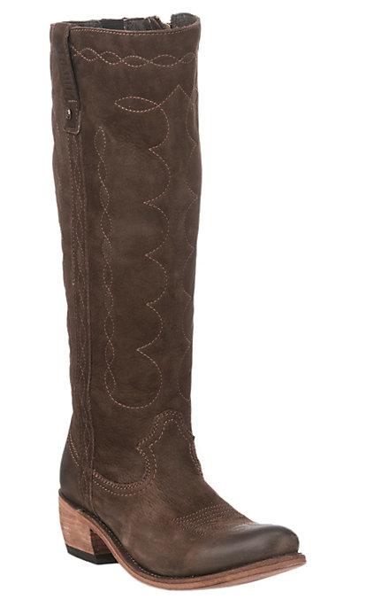 c545db48ebf Liberty Black Women's Chocolate Nubuck Grease Tall Top Round Toe Western  Fashion Boots