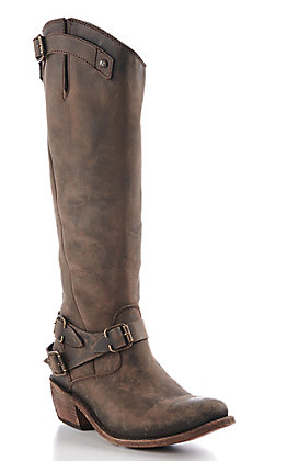 Liberty Black Women's Brown Crazy Horse Round Toe Riding Boots