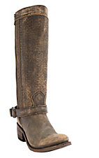 Liberty Black Women's Tan Vintage Distressed w/Embossed Woven Top Harness Round Toe Western Fashion Boots