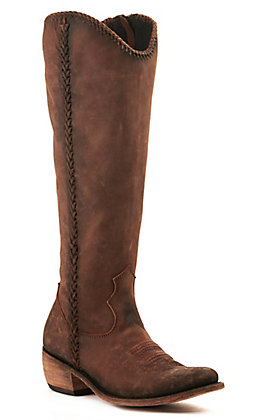 Liberty Black Women's Bovine Leather Vintage Canela Brown Braided Round Toe Western Boot