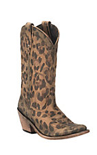 Liberty Women's Tan Cheetah Print Western Round Toe Boots