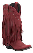 Liberty Black Women's Red Vegas T-Moro Fringe Snip Toe Western Fashion Boots