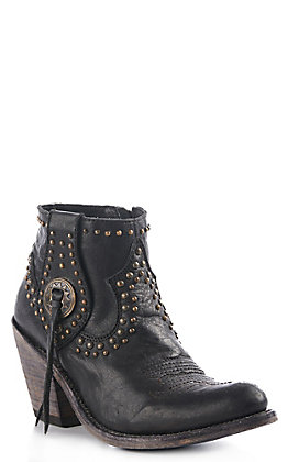 Liberty Black Women's Black Leather Studded Round Toe Western Booties