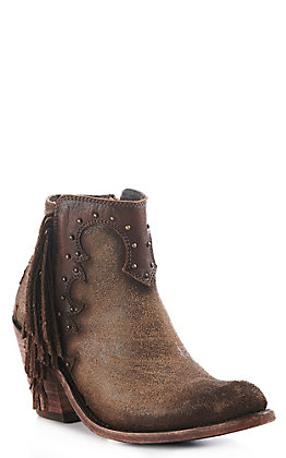 Liberty Black Women's Brown Leather Studded Round Toe Western Booties