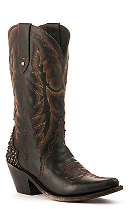 Liberty Black Women's Distressed Black with Studded Heel Snip Toe Western Boots