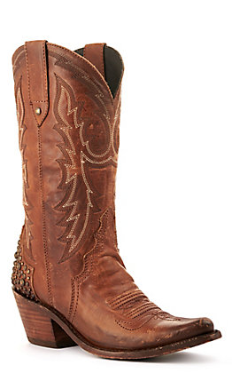 Liberty Black Women's Distressed Brown with Studded Heel Snip Toe Western Boots