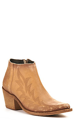Liberty Black Women's Distressed Tan with Fancy Stitching R-Toe Bootie