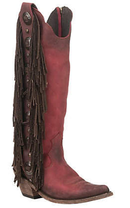 Liberty Black Vegas Women's Bovine Leather Rojo Fringe Red Round Toe Boots