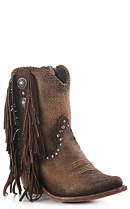 Liberty Black Women's Brown Leather and Fringe Concho Studded Western Booties