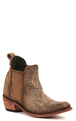 Liberty Black Women's Brown Python Print Round Toe Bootie