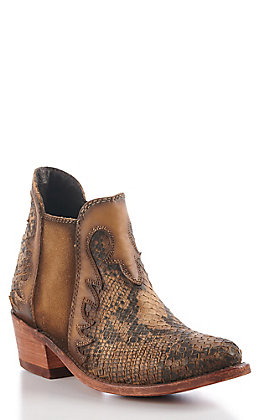 Liberty Black Women's Tan Leather Snake Print Round Toe Booties