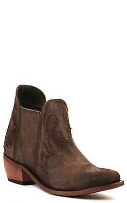 Liberty Black Women's Chocolate Brown with Collar Overlay Round Toe Bootie