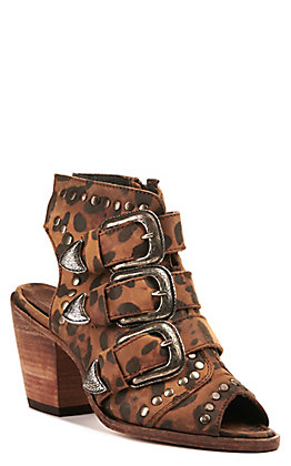 Liberty Black Women's Leopard Print Triple Buckle and Studs Peep Toe Bootie