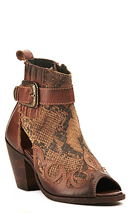Liberty Black Women's Distressed Brown and Python Print with Buckle Peep Toe Bootie