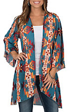 Lucky & Blessed Women's Teal with Orange Aztec Print 3/4 Sleeve Kimono