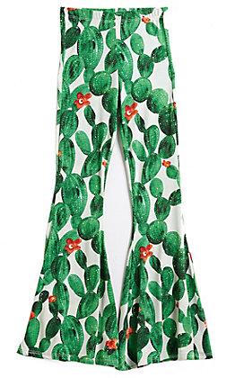 L & B Girl's White Cactus Flare Pants