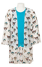 Lucky & Blessed Girls Cream Skull, Thunderbird and Cactus Print Kimono