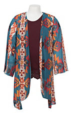 Lucky & Blessed Girls Teal with Orange Aztec Print 3/4 Sleeve Kimono