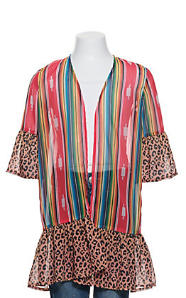 L&B Girl's Serape and Leopard Long Bell Sleeve Kimono