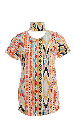 Lucky & Blessed Girls' Aztec Print Keyhole Fashion Top