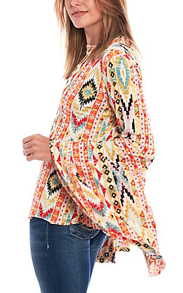 Lucky & Blessed Women's Aztec Print Bell Sleeve Fashion Top