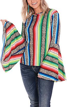 L&B Women's Snake Serape Long Bell Sleeves Fashion Top