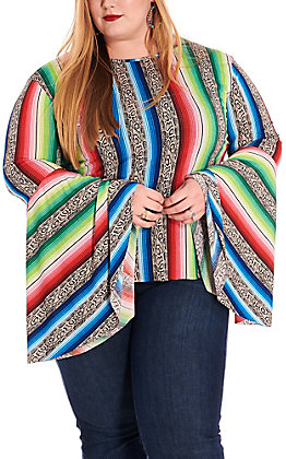 L&B Women's Snake Serape Long Bell Sleeves Fashion Top - Plus Sizes