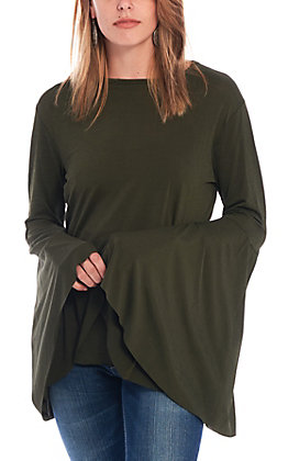Lucky & Blessed Women's Olive Bell Sleeve Fashion Top