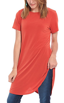 Lucky & Blessed Brick Red Short Sleeve Boyfriend Tunic