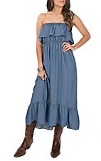 Lucky & Blessed Light Denim with Ruffle Top Strapless Maxi Dress