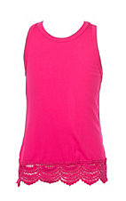 Lucky & Blessed Girls Hot Pink Tank with Lace