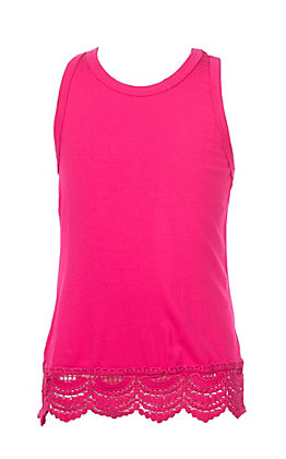 L&B Girls Hot Pink Tank with Lace