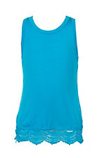 Lucky & Blessed Girls Turquoise Tank with Lace