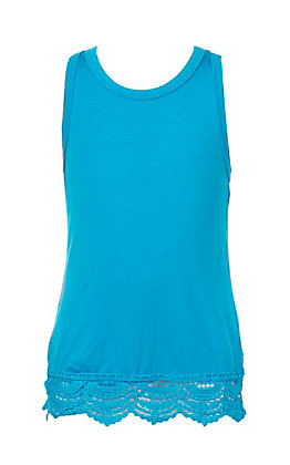L&B Girls Turquoise Tank with Lace