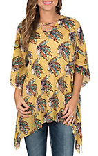 Lucky & Blessed Mustard with Indian Headdress Print 3/4 Sleeve Poncho Fashion Top