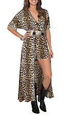 Lucky & Blessed Women's Leopard Print Short Sleeve Maxi Romper