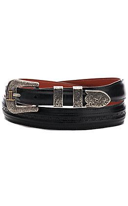 Lucchese Men's Black Hobby Stitch Goat Tapered Belt