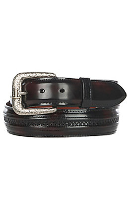 Lucchese Men's Black Cherry Hobby Stitched Western Belt