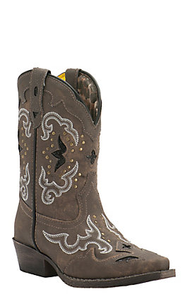 Laredo Kids Sanded Brown with Fancy Stitch & Sequin Inlay Snip Toe Western Boots