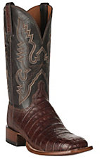 Lucchese 1883 Men's Barrel Brown Caiman Tail & Smooth Ostrich Exotic Square Toe Boots