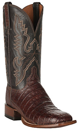 Lucchese Men's 1883 Barrel Brown Caiman Tail and Smooth Ostrich Square Toe Exotic Western Boots