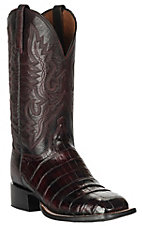 Lucchese 1883 Men's Black Cherry Caiman Tail & Smooth Ostrich Exotic Square Toe Boots