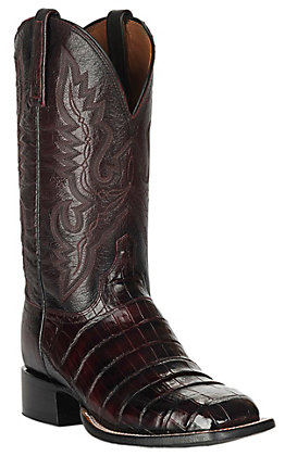 Lucchese Men's 1883 Black Cherry Caiman Tail and Smooth Ostrich Square Toe Exotic Western Boots