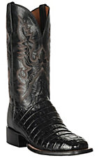 Lucchese 1883 Men's Black Caiman Tail & Smooth Ostrich Exotic Square Toe Boots