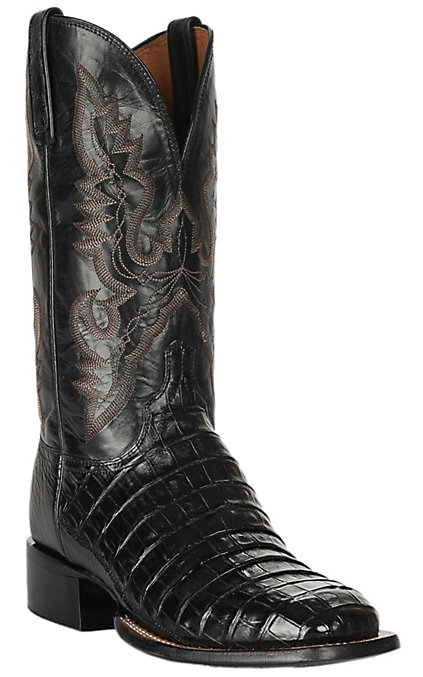 5c17c897e04 Lucchese 1883 Men's Black Belly Caiman Tail Exotic Square Toe Boots